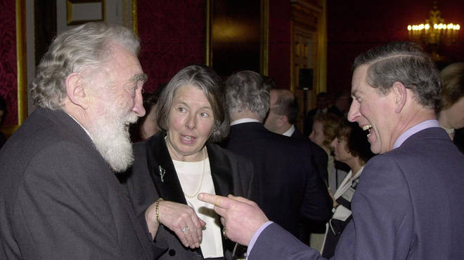 The Prince of Wales enjoys the company of David Bellamy during the reception to launch the 'Save the Albatross Campaign'