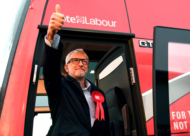 Jeremy Corbyn on a Vote Labour bus