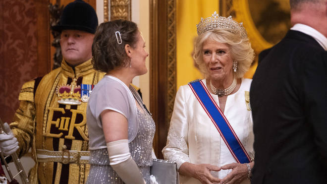 The Duchess of Cornwall seen at the reception