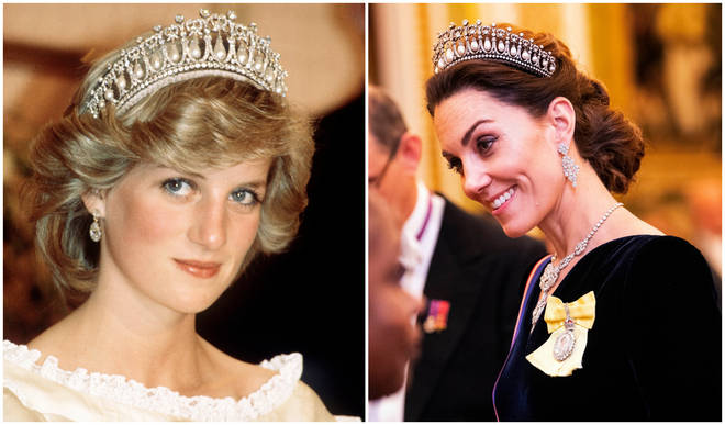 The Duchess of Cambridge opted for a tiara once owned by Diana, Princess of Wales for a glittering reception at Buckingham Palace