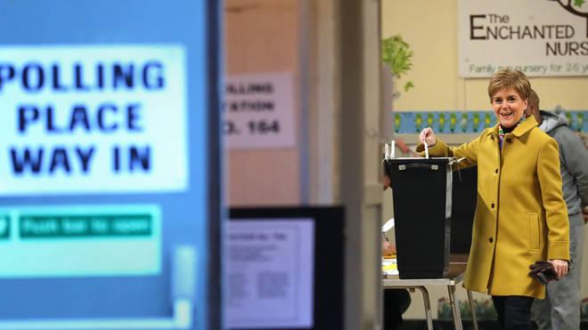 Nicola Sturgeon cast her vote in Glasgow