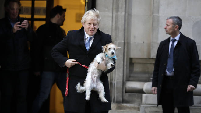 Boris Johnson took Dilyn with him to vote