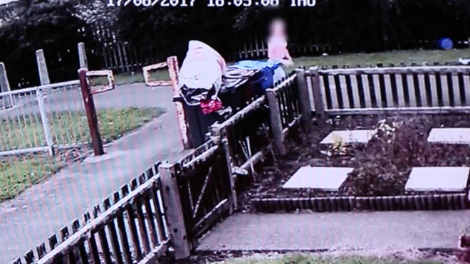 CCTV shows 12-year-old girl running away.
