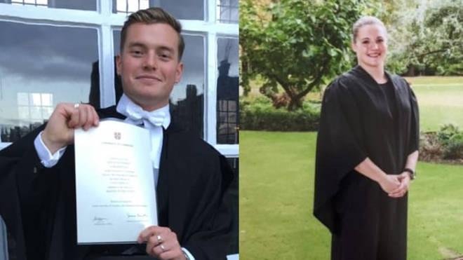 Jack Merritt, 25, of Cottenham, Cambridgeshire and (right) Saskia Jones, 23, of Stratford-upon-Avon, Warwickshire