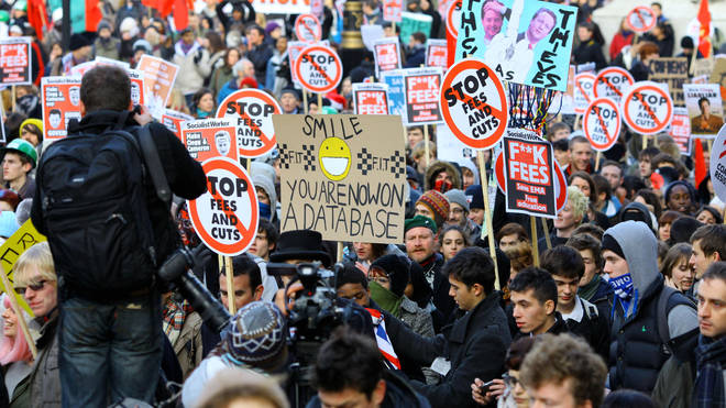 Students gather to protest against the planned rise in University fees on December 9 2010