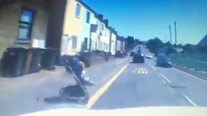 The moment a buggy rolls out into oncoming traffic