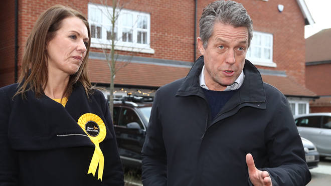"Hugh Grant posted ""there goes the neighbourhood"" after the exit poll was published"