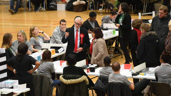 Jeremy Corbyn at the count this morning, where he was facing calls to quit