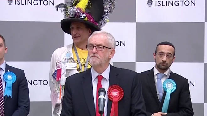 Jeremy Corbyn making his speech after winning the seat of Islington North