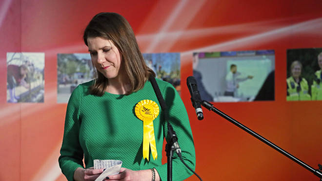 Jo Swinson reacts to the news she lost her seat