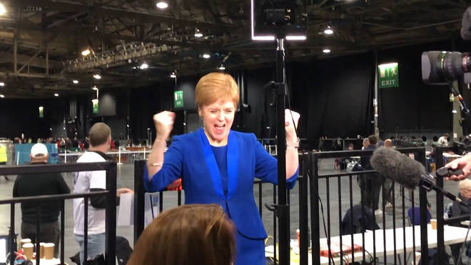 The SNP leader celebrated the win by her candidate in Jo Swinson's seat