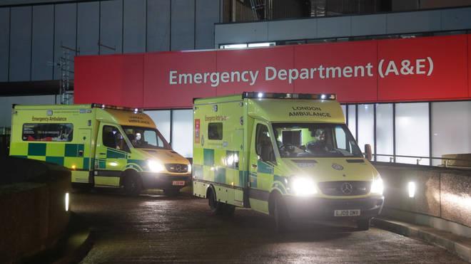 Ambulances outside St Thomas' Hospital A&E