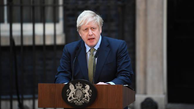 Prime Minister Boris Johnson speaks outside 10 Downing Street