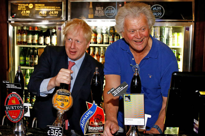 Tim Martin, Chairman of JD Wetherspoon with Prime Minister Boris Johnson