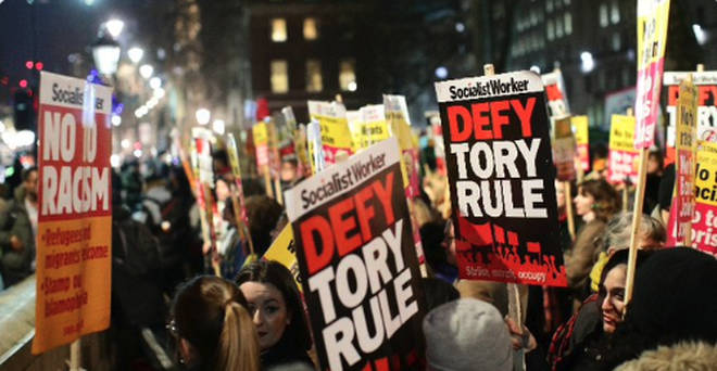 Hundreds of protesters have descended on Downing Street after the general election.