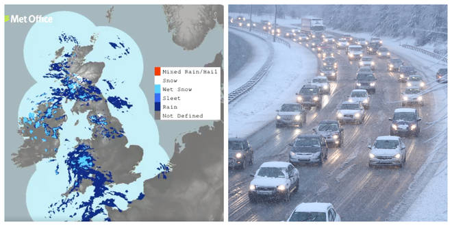 Hill snow is expected in Wales, Scotland and England