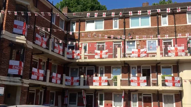 The England flags on the Kirby Estate in Bermondsey