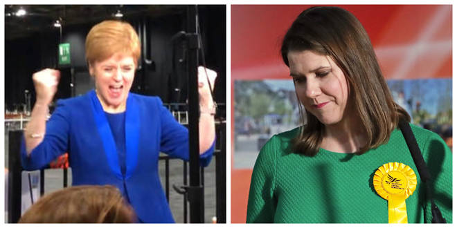 The clip appeared to show Nicola Sturgeon celebrating Jo Swinson losing her seat