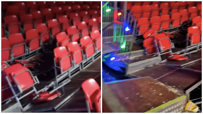 Around 20 seats collapsed inside the circus tent at EventCity in Trafford