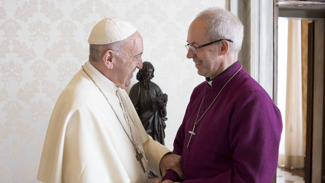 The Archbishop met the Pope and joked about football