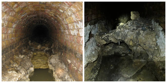 The Pall Mall fatberg (left) and the blockage found near the Shard (right)