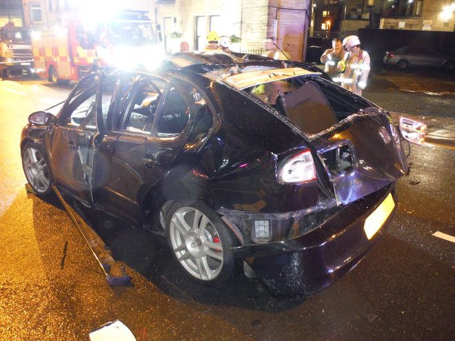 West Yorkshire Fire and Rescue Service released a photo of the damage to the car in Halifax