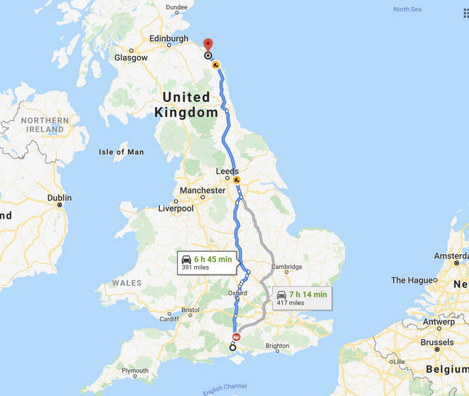 To put it into context - the traffic jam is the same length as the distance between Southampton and the Scottish border