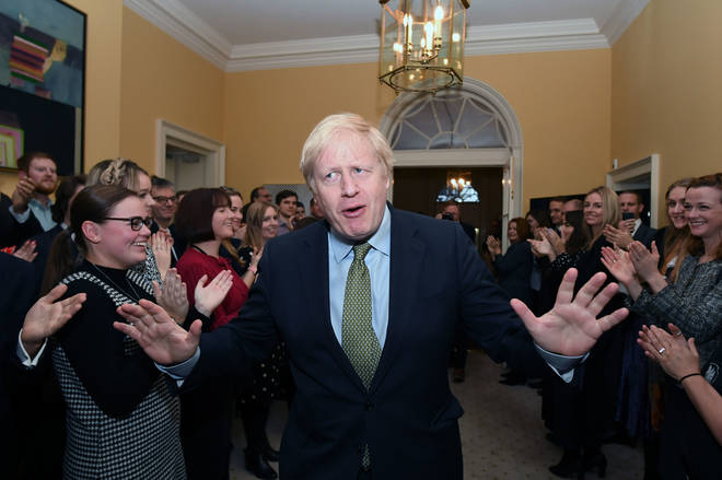Boris Johnson pictured inside Downing Street after his historic win