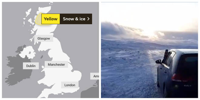 Snow has been seen in northern England and Scotland