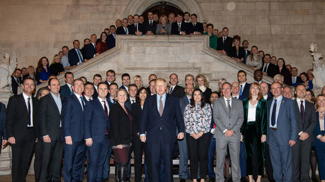 The Prime Minister poses with the new MPs