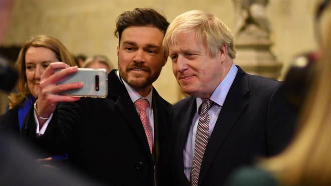 Boris Johnson posed for photos