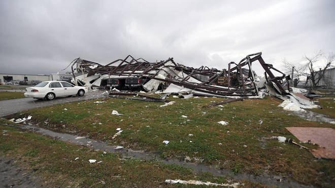Damage from a tornado to the TrimLine building on John Allison Drive in Alexandria, La.,