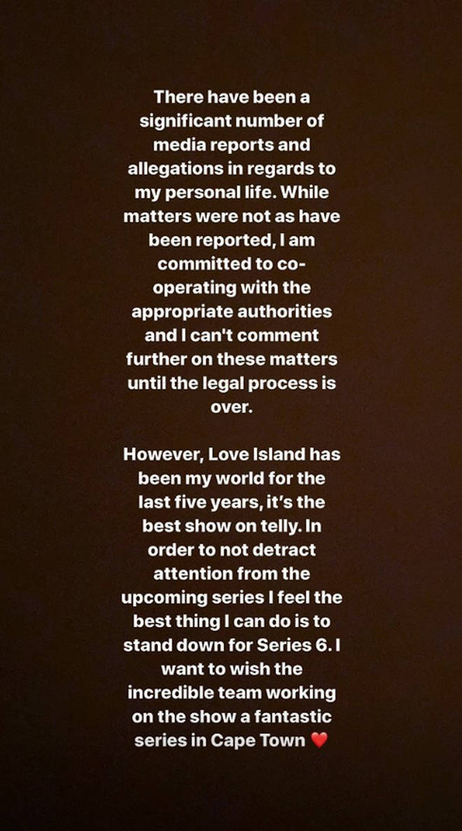 Caroline Flack posted a statement to her Instagram