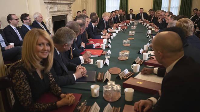 Boris Johnson addresses his Cabinet