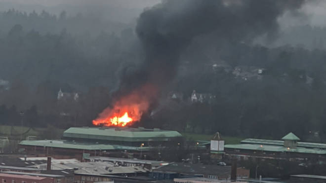 Emergency services were responding to the major fire in Reading