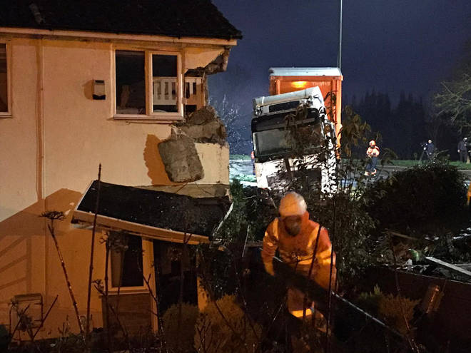 The B&Q lorry crashed into a bedroom in the house