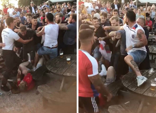 The huge brawl kicked off outside a pub in Chatham, Kent on Tuesday