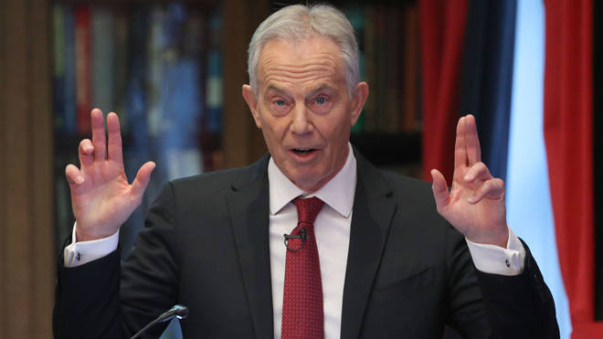 Former prime minister Tony Blair gives a speech on the future of the Labour Party and progressive politics at the Hallam Conference Centre in central London.