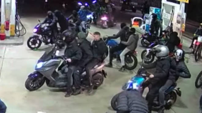 Some bikes had three riders on them as shown on the CCTV