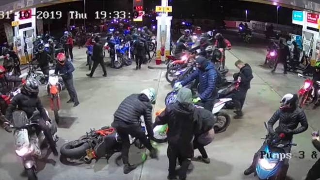 Swarms of bikers descended on the garage on Halloween