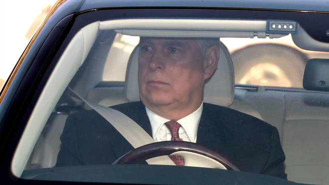 Prince Andrew pictured arriving at Buckingham Palace today