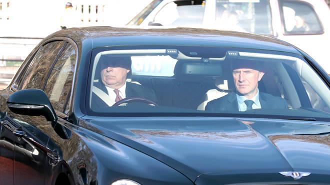 The Duke of York drives his Bentley into Buckingham Palace,