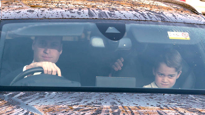 The Duke of Cambridge arrives with Prince George, six, in the front seat