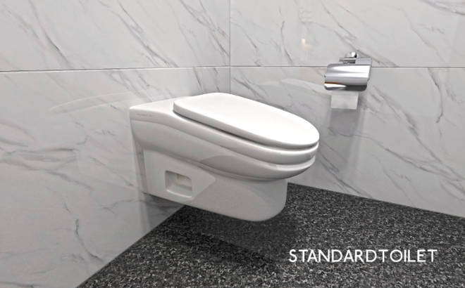 The sloping toilet is not yet available to purchase but its designers have filed a patent application
