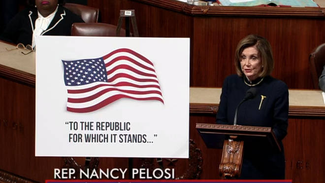 Nancy Pelosi speaking in the House of Representatives