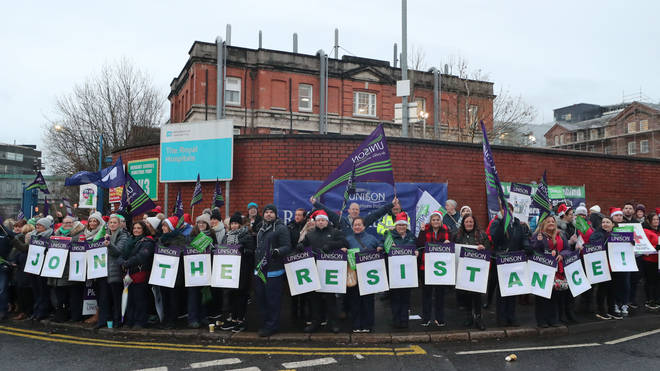 Picket lines have formed across Northern Ireland
