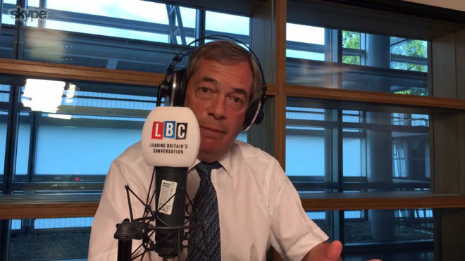 Nigel Farage was broadcasting his LBC show from Strasbourg on Wednesday