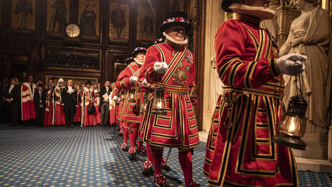 Yeoman warders conduct the traditional ceremonial search in the Palace of Westminster d
