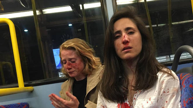 The couple were attacked on a night bus in north London