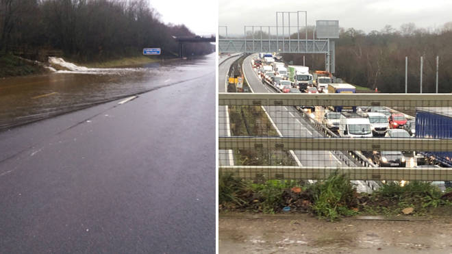 The flooded M23 sparked major queues on Friday